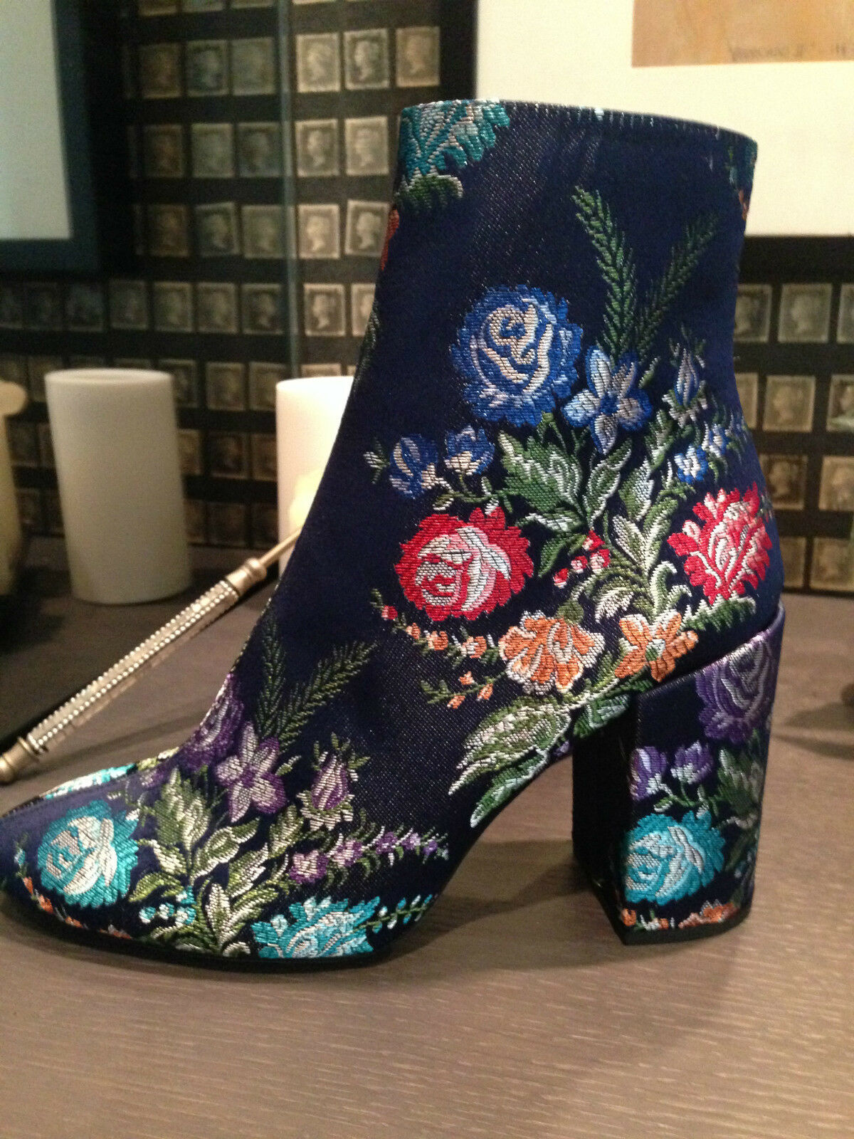 ZARA Blau EMBROIDERY DETAIL ANKLE Stiefel REF. 2107/201  39 UE/ 8 USA, 7 UK