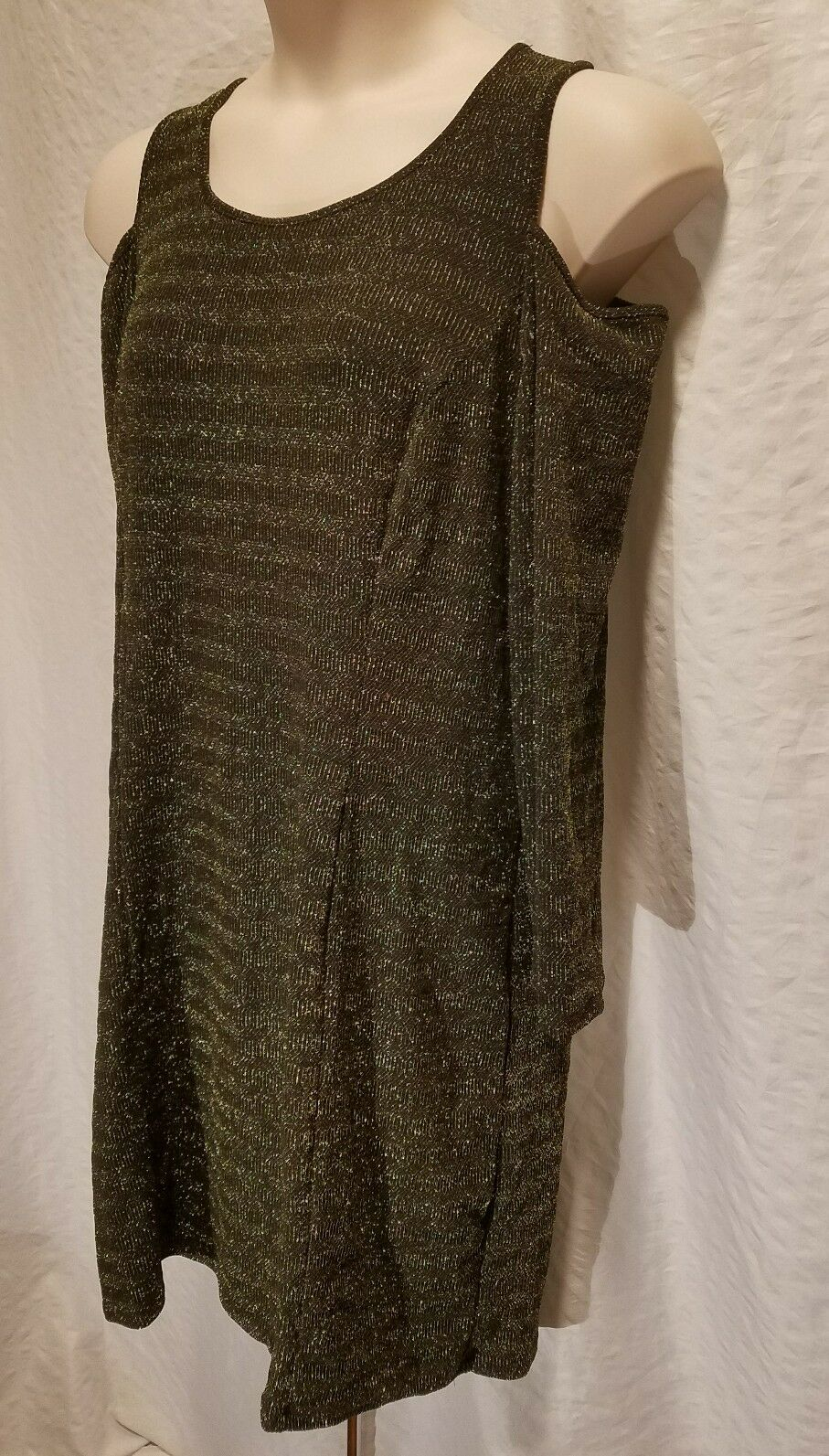 NY Collection Women's Plus Solid Long Sleeve Cold Shoulder Dress gold Size 1X 3X