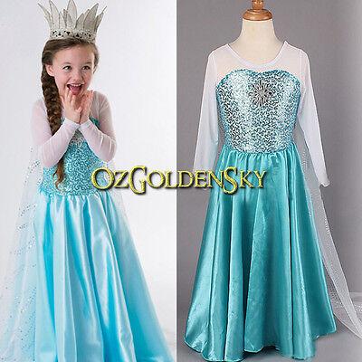 Girl FROZEN CINDERELLA Queen ELSA Princess ANNA Birthday Costume Dress 3-10Y