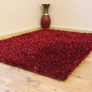 Quality Modern Red Rugs 5cm Thick Pile Plain