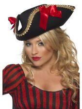 Women's Ladies Adult Fever Pirate Hat Black Fancy Dress Sexy Sailor Explorer Fun