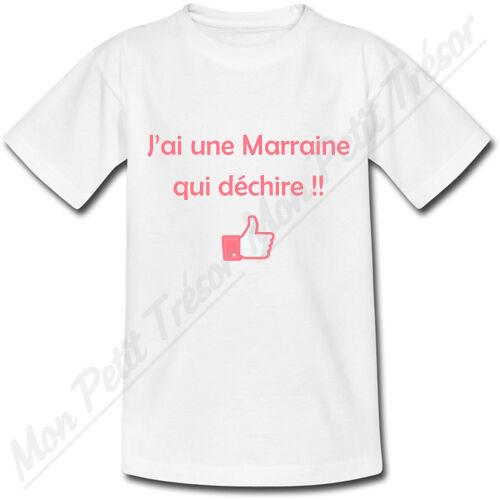 T-shirt Bébé J/'ai une Marraine qui déchire cadeau naissance baptême 2 couleurs