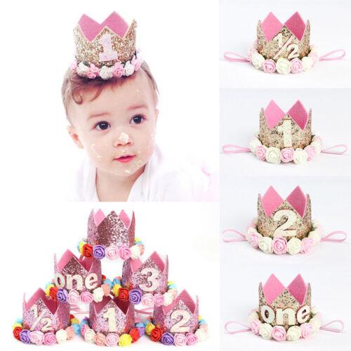 Newborn Baby Birthday Crown Flower Headband Infant Princess Hat Shiny Hair Band