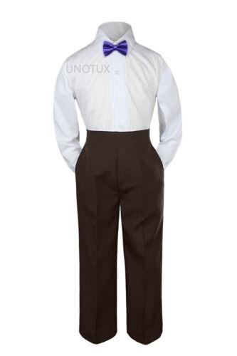 3pc Shirt Brown Pants Bow Tie Set Baby Toddler Kids Boys Wedding Formal Suit S-7