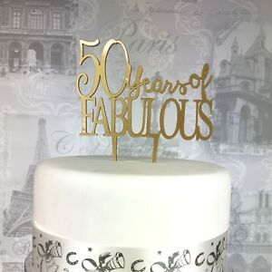 Image Is Loading 50th Birthday Acrylic Cake Topper 50 Amp Fabulous