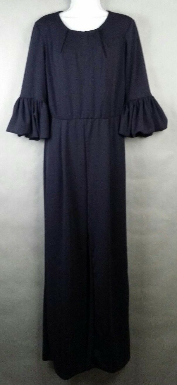 NWT NEW Marina Full Length Jumpsuit - Size 8 - Navy Lined w  Bell Sleeves