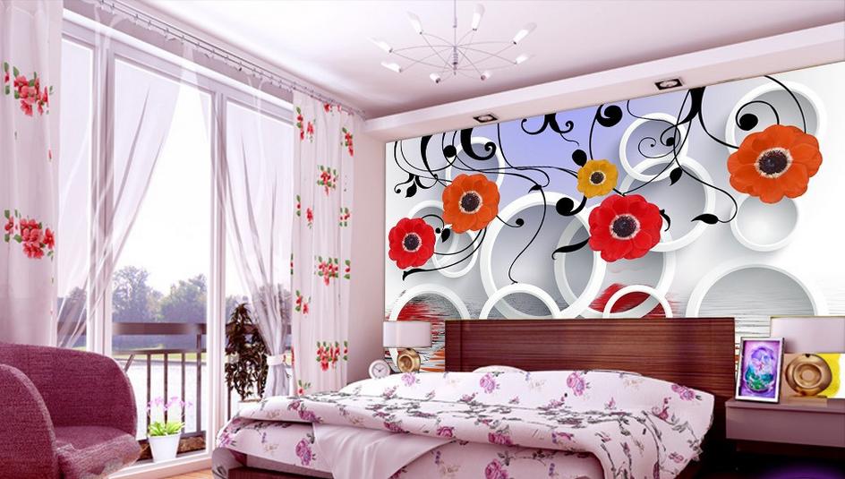 3D Roter Blumenring 57 Tapete Tapeten Mauer Foto Familie Tapete Wandgemälde DE