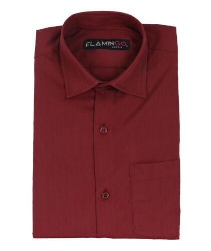 Garçons Enfants Flamingo Classique Formel Mariage bordeaux shirt
