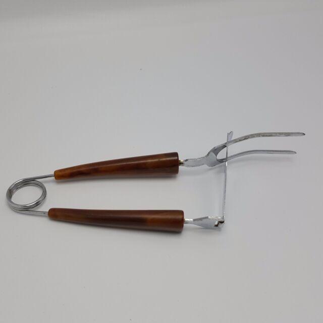 Mechanical Meat Slice Server Fork Tongs Vintage Brown Swirl Turkey Handle