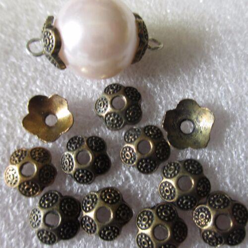 100 antique gold flower bead end caps 8mm-fabrication de bijoux beadind findings