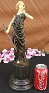 Collectible-Museum-Quality-Lady-Soldier-Warrior-Bronze-Sculpture-Masterpiece-Art