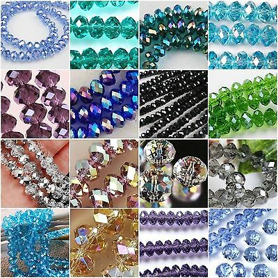 New Multicolor Faceted Crystal Gemstone Loose Beads 4x6mm 6x8mm