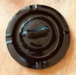 Vintage-Airedale-Terrier-Onyx-Poured-BLACK-Glass-Ashtray-1930-039-s
