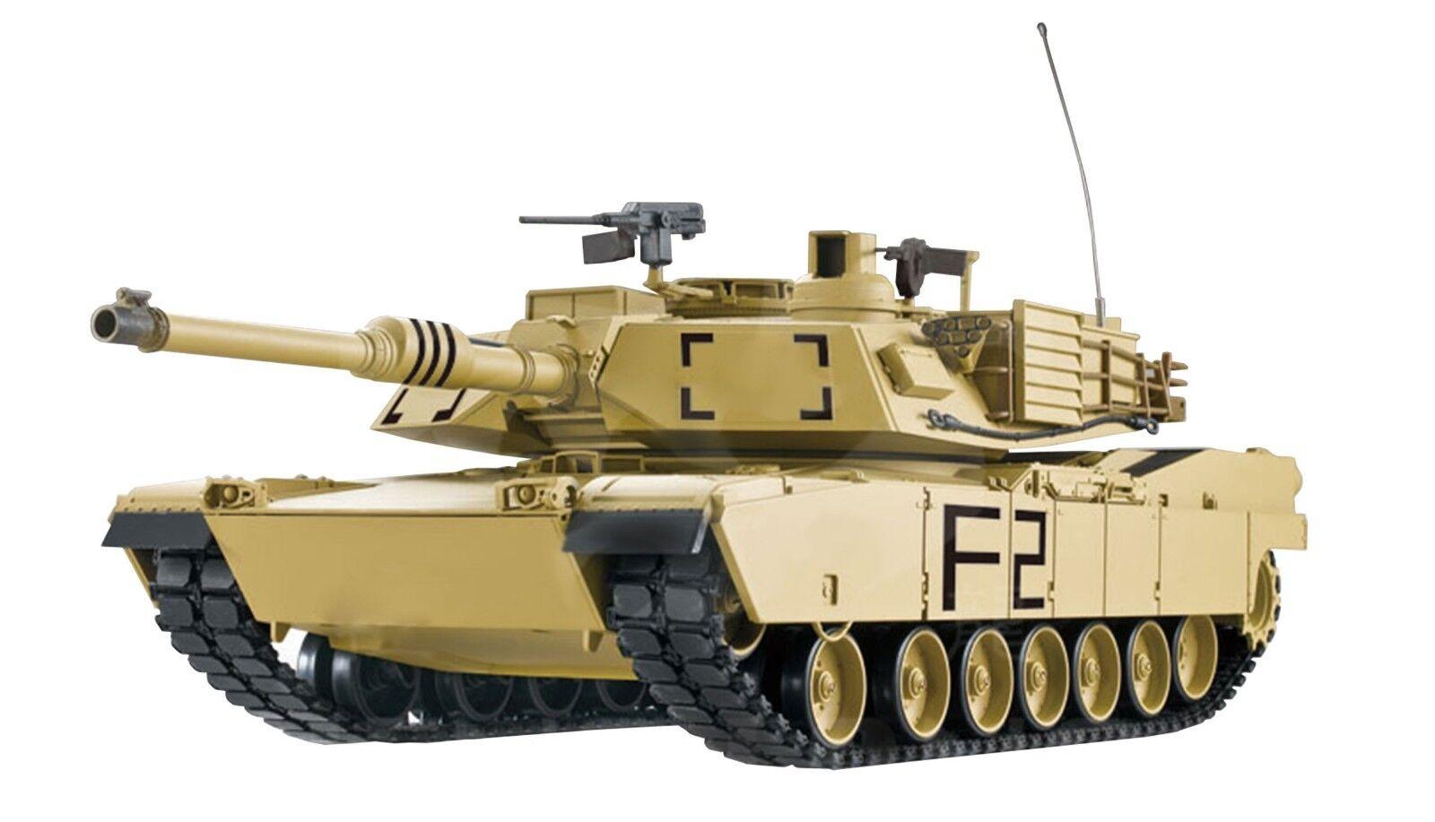 Rc char char char u.s. m1a2 métal boîte de vitesses tir, fumée + sound 2.4 GHZ NEUF 23076 fe85ca