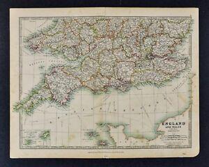 Map Of South England Uk.1906 Johnston Map South England Wales London Thames English