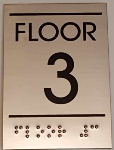 Floor number Three Sign BRAILLE-STAINLESS STEEL-Ref-AM 3