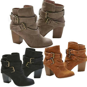 Womens-Ladies-Ankle-Boots-Low-Mid-Block-Heels-Buckle-Casual-Shoes-Sizes-US-6-10