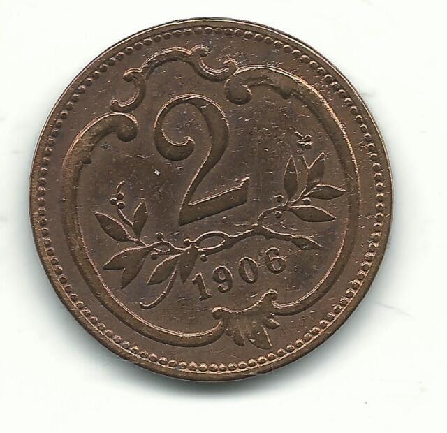 A VERY NICELY DETAILED HIGH GRADE AU 1906 AUSTRIA 2 HELLER COIN-DEC179
