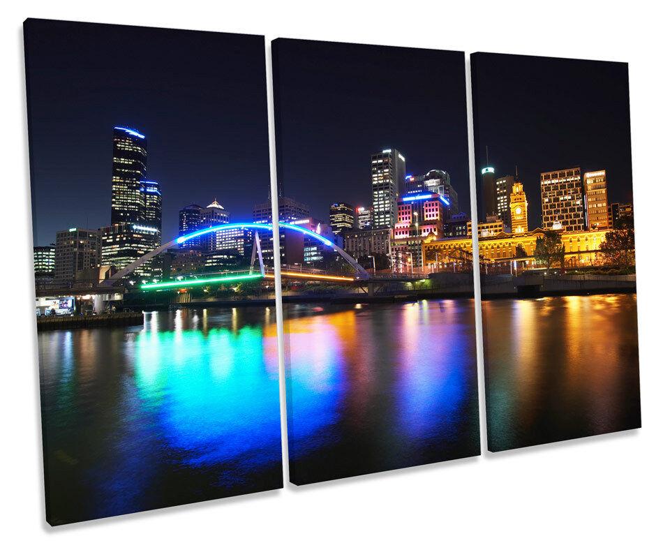 Australia Melbourne City Night TREBLE TREBLE TREBLE CANVAS WALL ART Box Framed Picture 08cf79