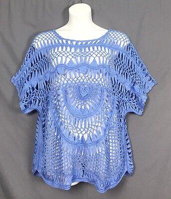 plus size ROAMAN'S denim 24/7 crochet BOHO openwork SWEATER TUNIC M-3X pick size