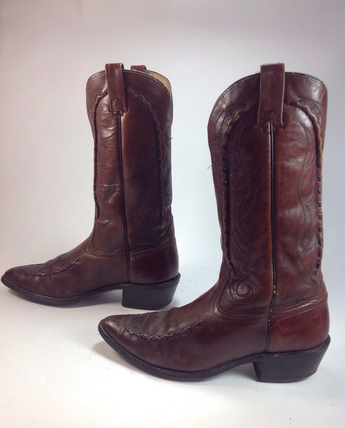 Men's Vintage Acme Brown Leather Piping Embellishment Western Cowboy Boots Sz.9