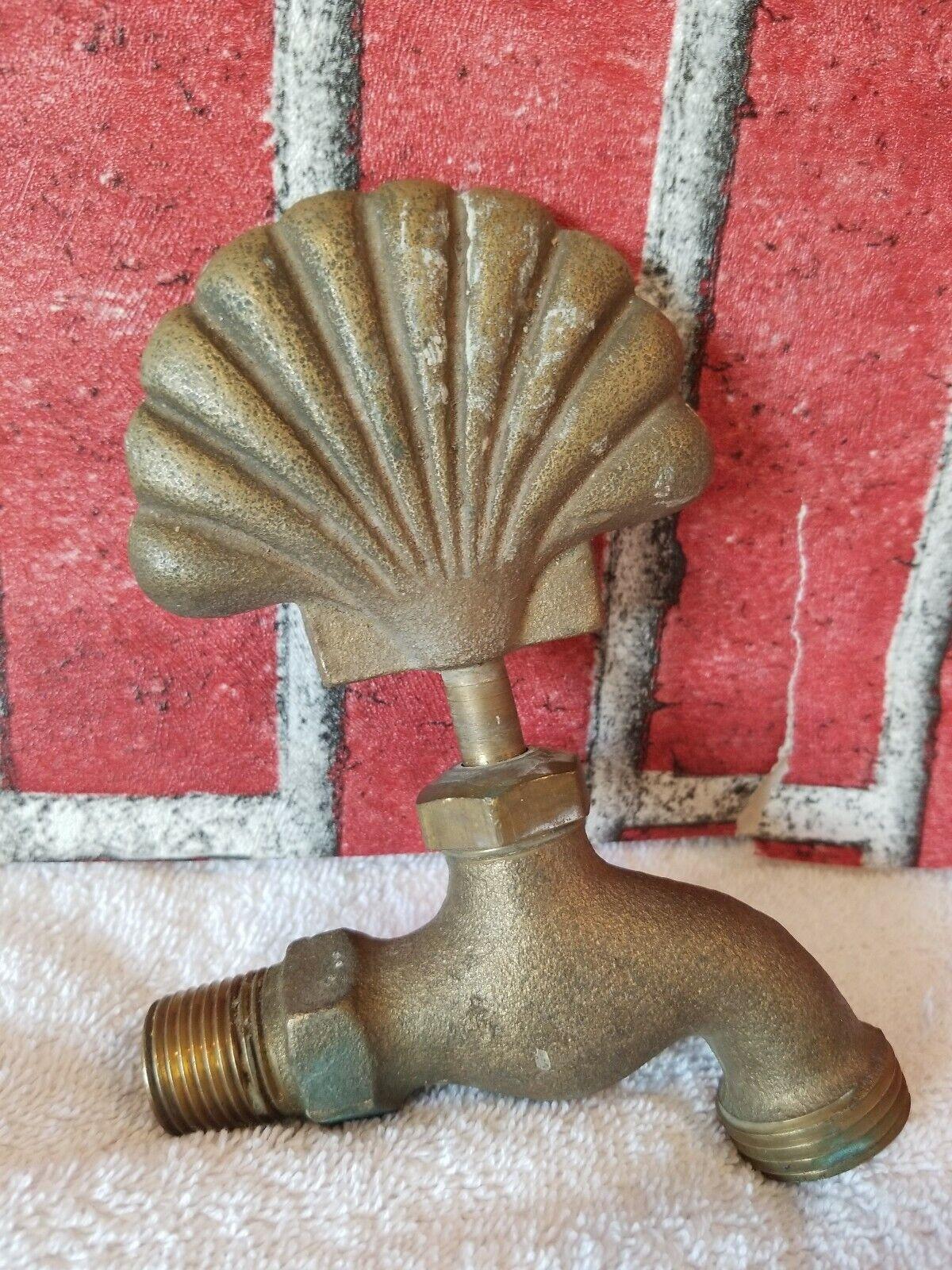 Heavy Solid Brass Outdoor Garden Sea Shell Water Faucet Spigot retro old school