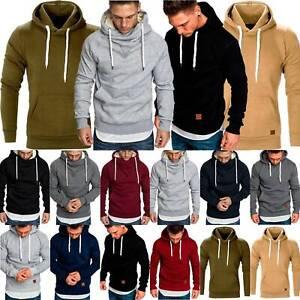 Mens Fashion Cowl Neck Pullover Hooded Sweatshirt Top Plain Sport Hoodies Jumper