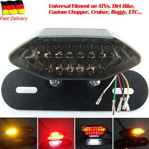 Neu-20-LED-Motorrad-Ruecklicht-Bremslicht-schwarz-mit-Kennzeichenhalter-Schwarz