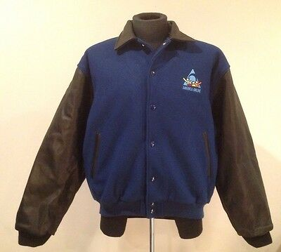 Vintage 1990s America Online AOL Varsity Jacket Leather AIM Internet Rare Sz L