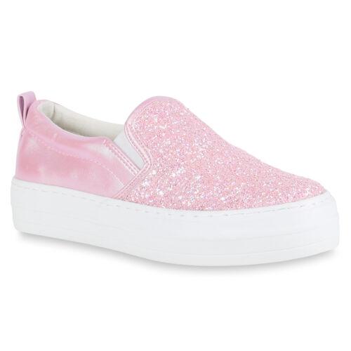 Damen Plateau Glitzer Slip-ons Sneakers Modische Slipper 811063 Mode