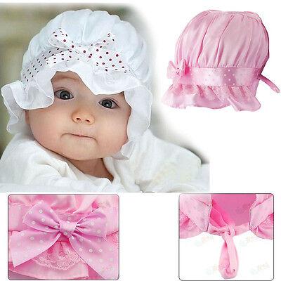 Newborn Baby Girl Boy Bowknot Polka Dots Lace Summer Sun Beanie Hat Cap Lovely