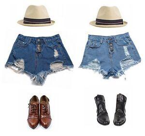 Ladies-Sexy-Vintage-High-Waist-Tassels-Hot-Pants-Jeans-Denim-Shorts