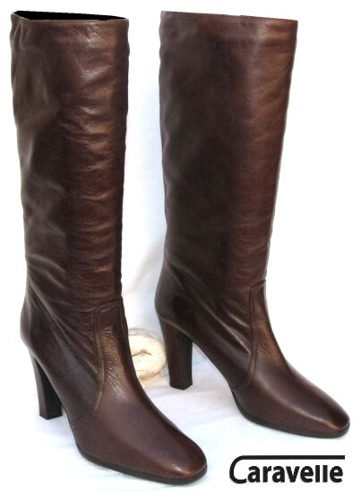CARAVELLE - RIDING BOOTS VINTAGE BROWN LEATHER 40 - VERY GOOD CONDITION