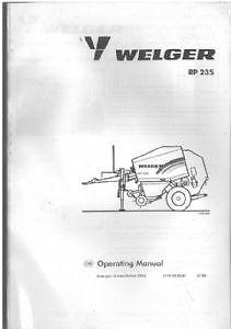 WELGER Ronda Enfardadora rp235 Manual del operador