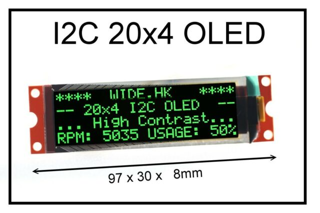 IIC / I2C 2004 20x4 Green OLED Module Display - For Arduino / PIC / AVR / ARM