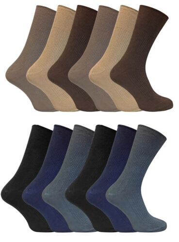 12 Pairs Mens Thin Soft 100/% Cotton Rich Non Elastic Wide Loose Top Dress Socks