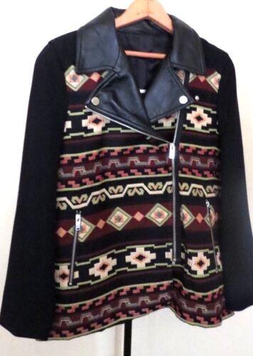 ZARA Black Color Geometric Combine Faux Leather Jacket Coat SIZE L