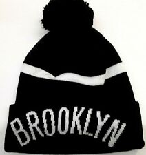 92979d218aa adidas Brooklyn Nets Youth Black Cuffed Knit Hat With Pom - NBA for ...