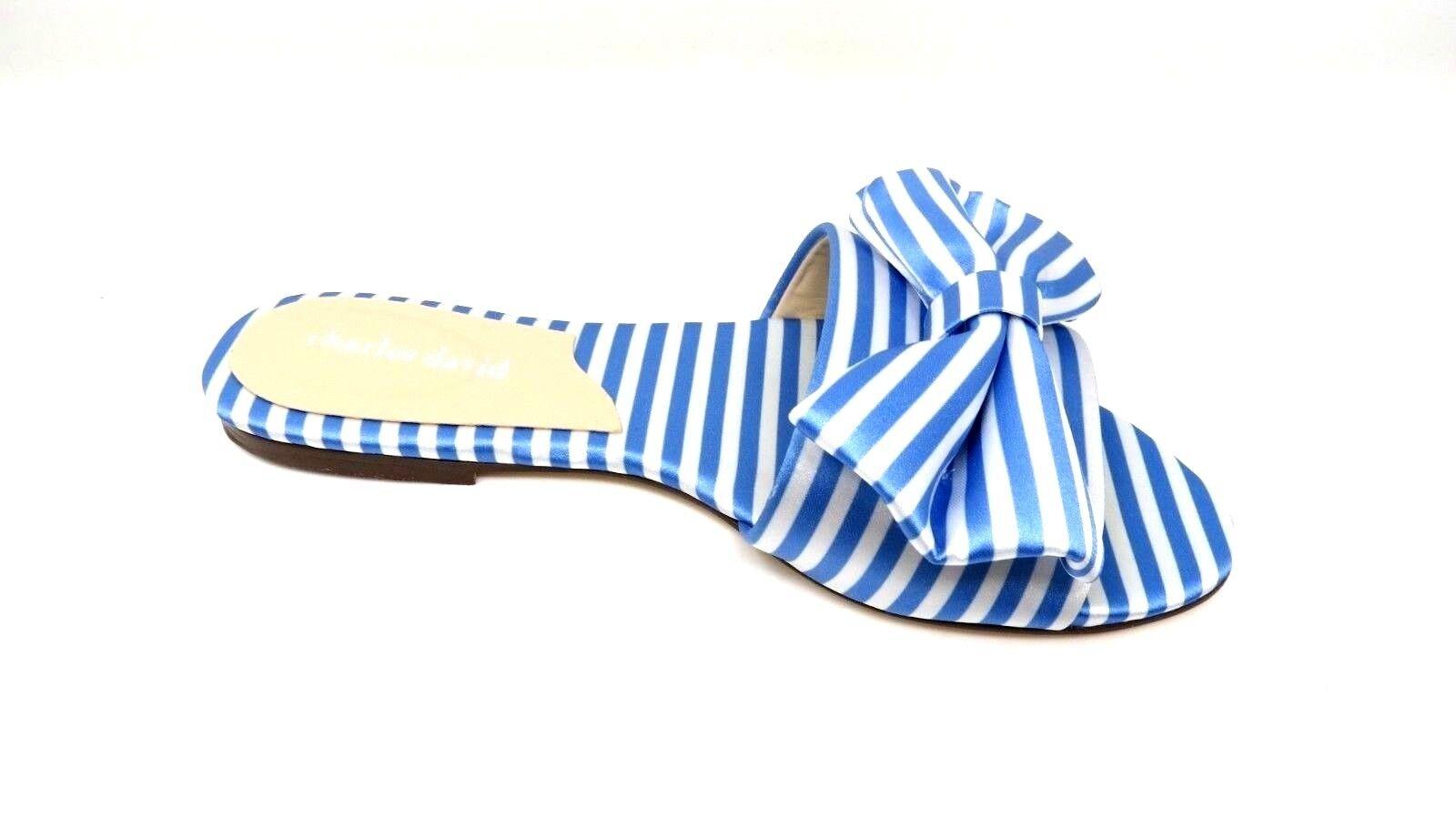 Charles David femmes Slipper Striped Canvas Slide Sandal Taille 8.5M