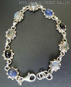 "Lapis Onyx Moonstone Quartz Sterling Silver 0.925 Estate 7""- 7 1/2"" BRACELET adj"