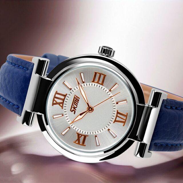 Ladies Women's Fashion Blue Casual Modern Leather Analog Quartz Wrist Watch