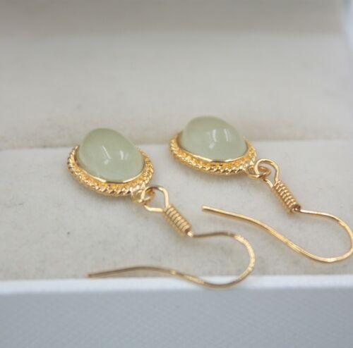 18K Or Jaune Plaqué Alliage /& vert jade Boucles d/'oreilles Femme Goutte De Pluie Jaune Goutte Bijoux