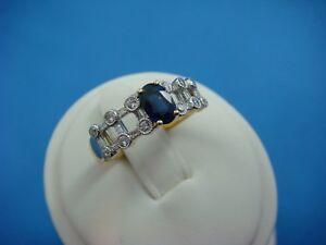 HIGH-END-18K-YELLOW-GOLD-1-CARAT-T-W-SAPPHIRE-AND-DIAMONDS-LADIES-RING-SIZE-7