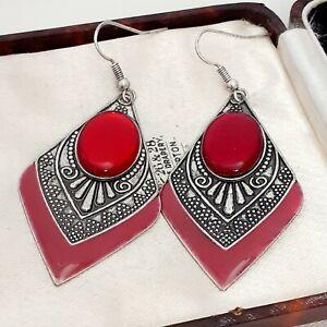 Vintage-Art-Deco-Style-Geometric-Large-Drop-Dangle-Red-Glass-Pierced-Earrings