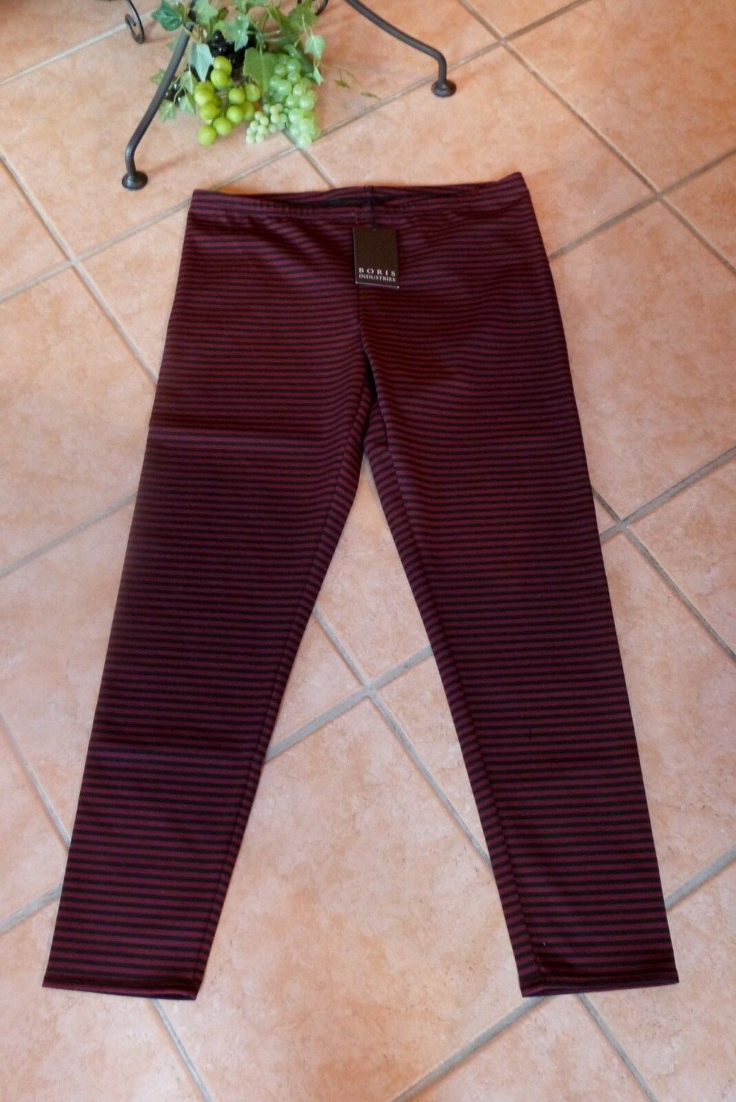 BORIS INDUSTRIES Leggings 40 42 (2) NEU bordeaux Streifen Double Face LAGENLOOK