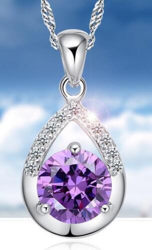 Hermosas plata corazón cadena con corazón remolque collar lila Love amor joyas