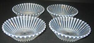 4-antique-A-J-Beatty-amp-Sons-Berry-Dessert-Bowls-Ribbed-White-Opalescent-AJ-Rare