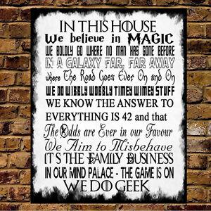 Family Rules Metal Sign Geek Harry Potter Got Star Wars Dr
