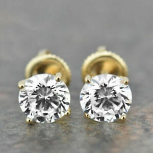 2-00-Ct-Round-Cut-Solitaire-Diamond-Women-039-s-Stud-Earrings-14K-Yellow-Gold-Over