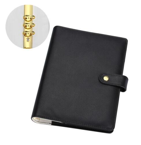 A6 A5 Binder Planner Black Agenda Organizer 6 Gold Rings Spiral Solid Black